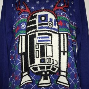 Star Wars Sweaters - Star Wars R2D2 Blue Christmas Sweater M